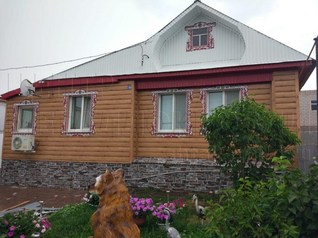 Фасад из металлосайдинга Евробрус Светлое дерево